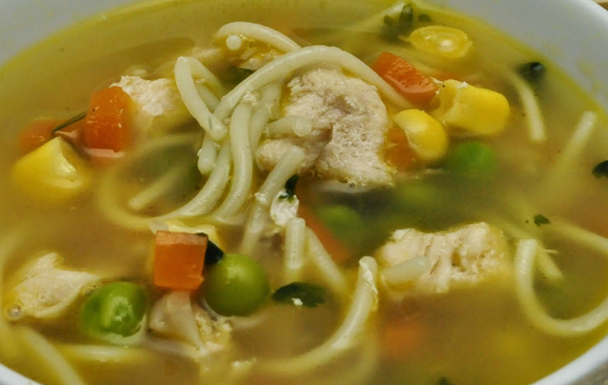 Sweetcorn Chicken soup with Noodles